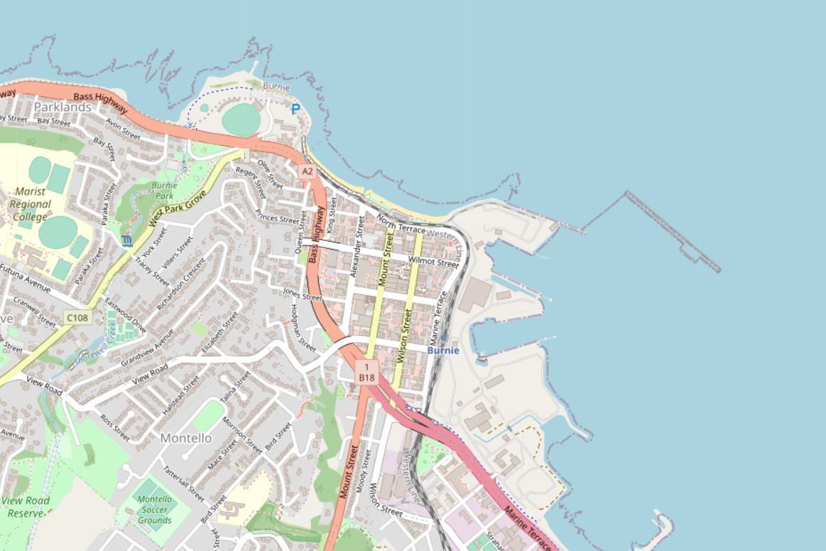 Burnie in OpenStreetMap