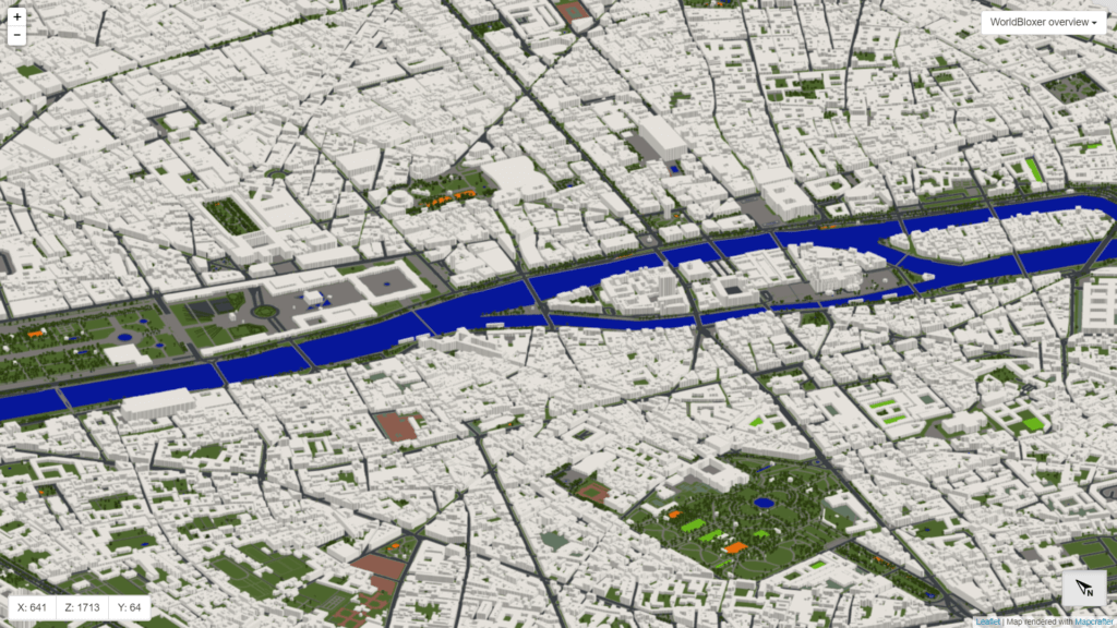 An overview of Paris in Minecraft